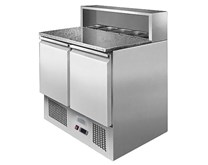 Ice-A-Cool Pizza Prep Counter with Marble Top 5 GN Pans & Lids