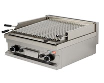 Italinox Arisco Gas Lava Rock Chargrill - 2 Burner. 600mm Wide - Heavy Duty. Natural Gas or LPG
