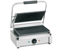 Quattro Heavy Duty Large Single Panini - Contact Grill Ribbed Top + Bottom Plates