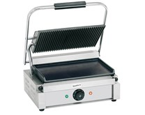 Quattro Heavy Duty Large Single Panini - Contact Grill Ribbed Top - Flat Bottom Plates