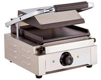 Quattro Heavy Duty Single Panini Contact Grill Ribbed Top and Flat Bottom Plates