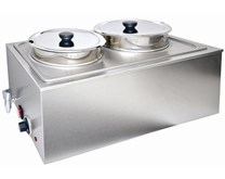 Quattro Twin Pot Round Bain Marie With Drain Tap