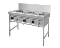 Gastrotek 70kW Stainless Steel Commercial 3 Burner Gas Wok Natural Gas