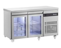 Inomak 274 Litre Glass Door Refrigerated Prep Counter PN99CR - 2 Doors With Castors