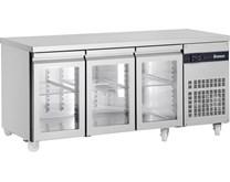 Inomak 429 Litre Glass Door Refrigerated Prep Counter PN999CR - 3 Doors With Castors