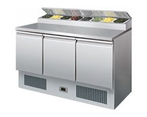 Gastroline PS300 Refrigerated Pizza Prep Counter 8 x 1/6 GN Pan Size Top