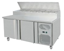 Gastroline 2 Door Refrigerated Sandwich & Pizza Prep Counter With Fitted Castors