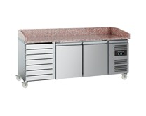 Combisteel Ecofrost Granite Top 2 Door Pizza Prep Counter Fridge with Drawers