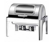 Quattro Roll Top Chafing Dish - Glass Window Full 9  Litre Capacity