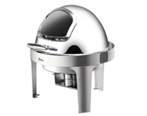 Quattro Round Roll Top Chafing Dish With Glass Window 6  Litre Capacity