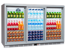 Triple Door Bottle Cooler Back Bar Fridge with Sliding Doors in Grey Silver