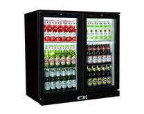 Premium Double Door Bottle Cooler Back Bar Fridge with Hinged Doors in Black
