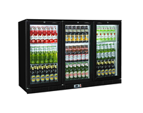 Triple Door Bottle Cooler Back Bar Fridge with Hinged Doors in Black