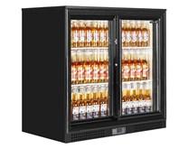 Tefcold Black Double Door Bottle Cooler Back Bar Fridge Sliding Doors
