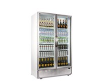 Husky 885 Litre PRO Mega Double Glass Door Display Fridge Chiller White 8 Shelves