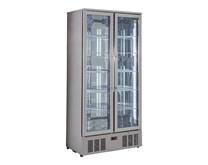 Genfrost Commercial Double Glass Door Display Fridge in Stainless Steel GBB500SS