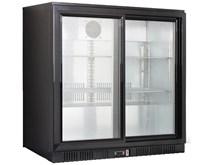 Gastroline Black Double Door Bottle Cooler Back Bar Fridge with Sliding Doors