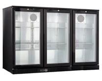 Premium Gastroline Black Commerical Triple Door Bottle Cooler Back Bar Cabinet - Hinged Doors LG330