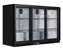 Gastroline Black Triple Door Bottle Cooler Back Bar Fridge with Sliding Doors