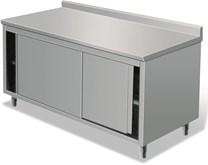 Italinox 1500mm Stainless Steel Floor Cupboard With Upstand and Sliding Doors