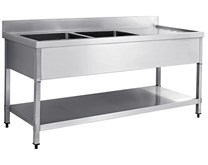Italinox Premium 1400mm Twin Bowl Stainless Steel Sink with Right Hand Drainer