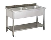 Italinox Premium 1200mm Twin Bowl Stainless Steel Sink With Undershelf