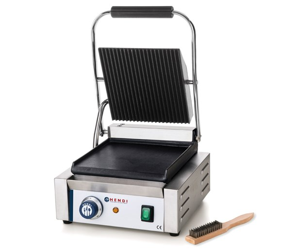 Hendi Single Contact - Panini Grill Ribbed Top Flat Bottom Plate Model 263600