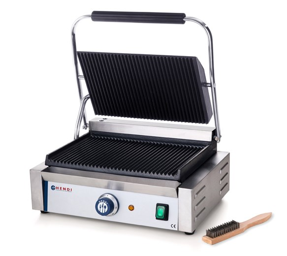 Hendi Large Single Panini Contact Grill Ribbed Top and Bottom Plate Model 263655