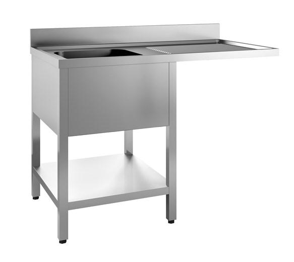 Italinox Premium 1200mm Single Bowl Dishwasher Sink. Right Hand Drainer