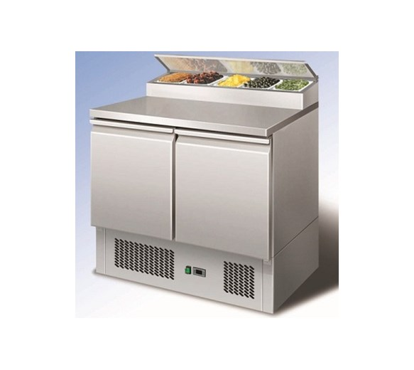 Ice-A-Cool 2 Door Pizza Prep Counter With 5 x 1/6 GN Pans + Lids Free