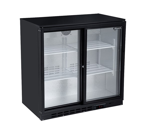 Blizzard Sliding Double Door Bar Bottle Cooler in Black