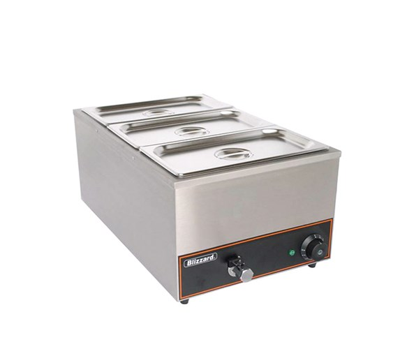 Blizzard Wet Bain Marie with Drain Tap and 3 x 1/3 GN Pans