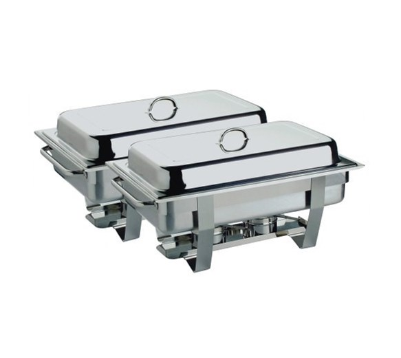 Chafing Dish Twin Pack Set  2 x Full Size 1-1 GN Chafers