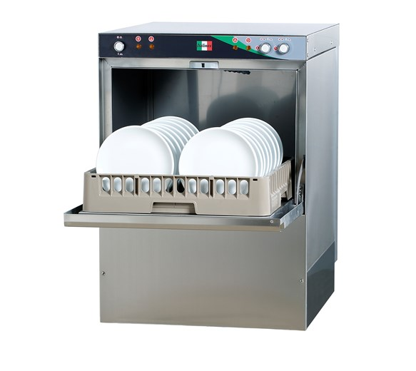 Commercial Dishwasher with Drain, Rinse Aid, Detergent Pumps & 500mm Baskets