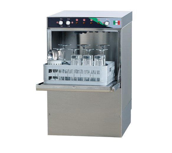Commercial Glasswasher. Drain, Rinse Aid, Detergent Pumps & 400mm Baskets