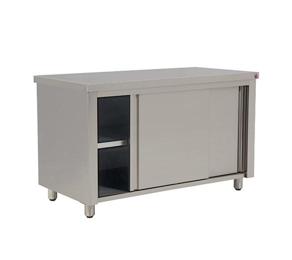 Inomak EG716 1600mm High Grade Stainless Steel Floor Cupboard - Sliding Doors