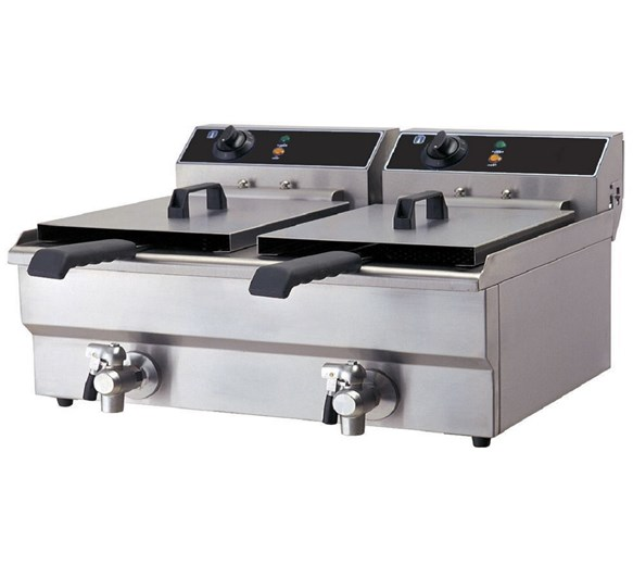 Quattro Twin x 19  Litre Tank Commercial Fryer With Drain Taps