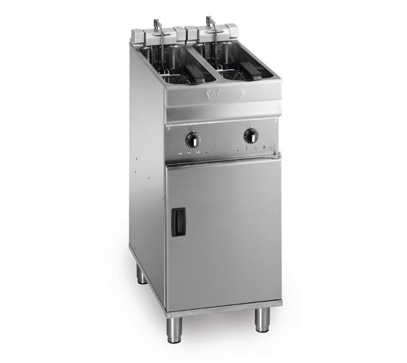 Valentine Electric Compact 400mm Floor Standing Twin Tank 2x8 Litre Fryer 3 Phase Turbo