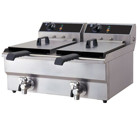 Quattro Electric Countertop Commercial Fryer. Twin x 8 Litre with Drain Taps