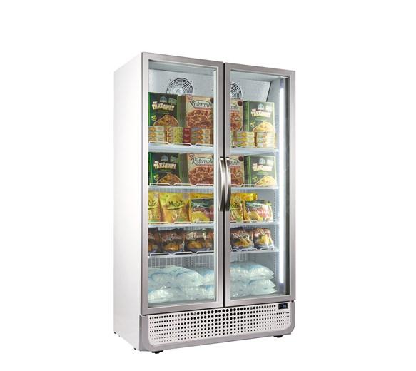 Husky 771 Litre PRO Double Glass Door Display Freezer White Retro Style 8 Shelves
