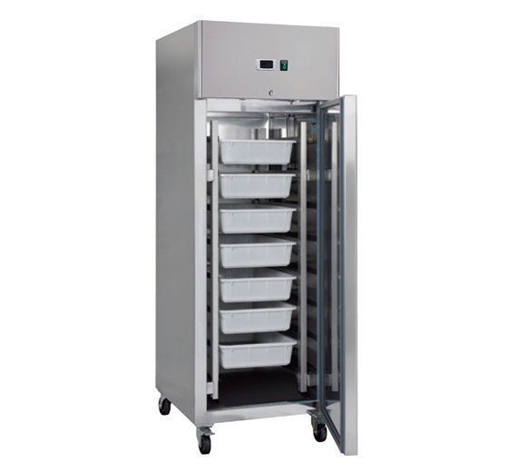 Gastroline Fish Keeper Fridge. 7 Trays, Stainless Steel, Fitted Castors