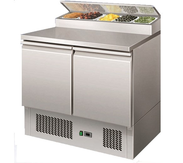 Gastroline 2 Door Refrigerated Pizza Prep Counter Holds 5 x 1-6 GN Pans