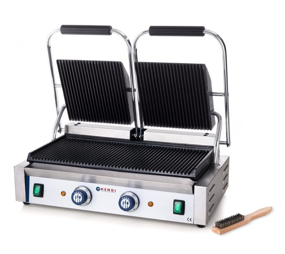 Hendi Twin Contact - Panini Grill Ribbed Top & Ribbed Bottom Plates Model 263716
