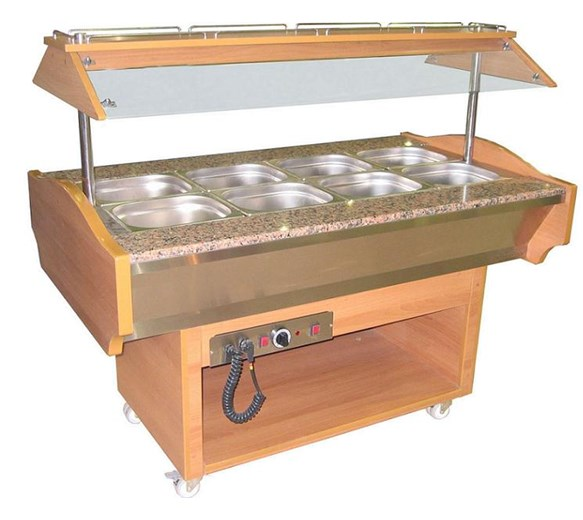 Heated Carvery 4 x 1-1 GN Size Top WIth Sneeze Screen - Gantry Plus Granite Worktop