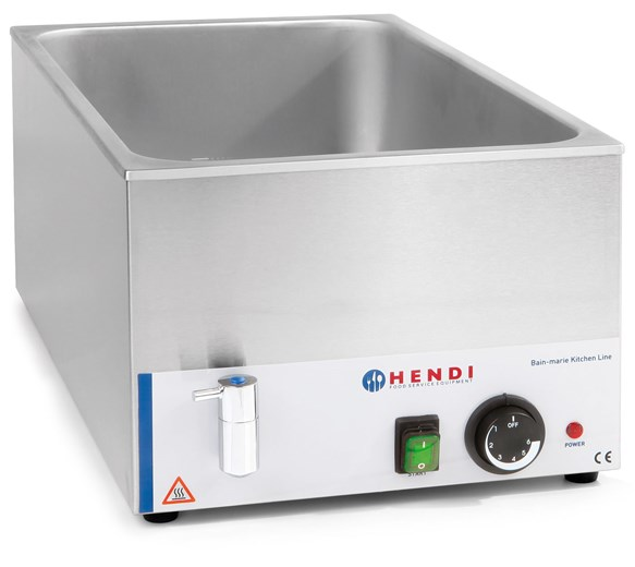 Hendi 1-1 GN Size Bain Marie With Drain Tap - Wet Heat Only - 238912