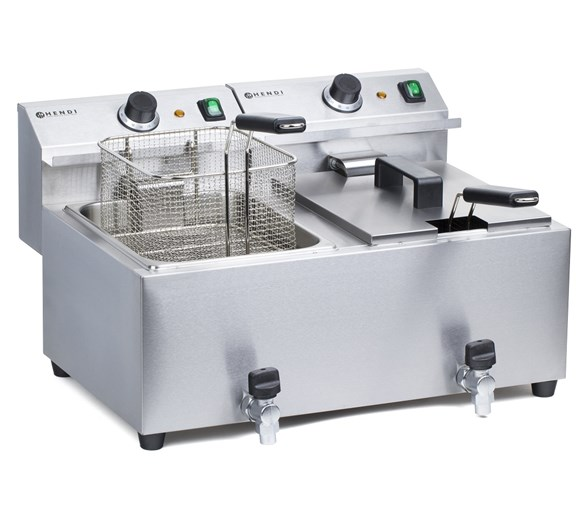 Hendi Twin x 8  Litre Mastercook Commercial Catering Fryer With Drain Taps 209394