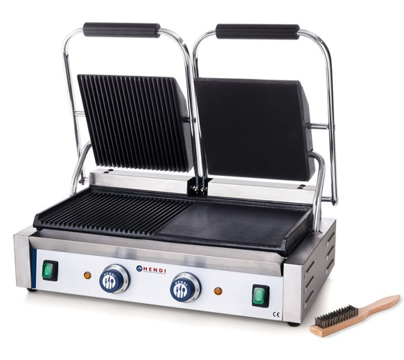 Hendi Twin Contact - Panini Grill Half Smooth - Half Ribbed Plates Model 263907