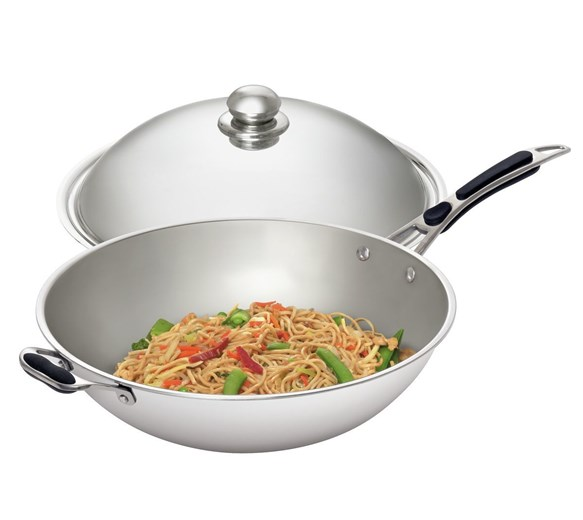 Bartscher Stainless Steel Wok Pan With Lid For Induction Wok Cookers W360R