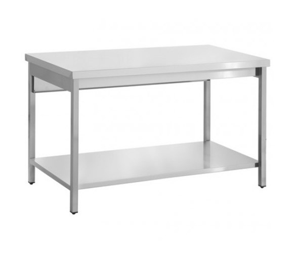 Quattro 1400mm Wide Stainless Steel Centre Bench with Square Legs