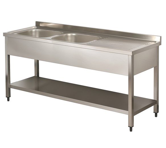 Italinox Premium 1600mm Twin Bowl Stainless Steel Sink with Right Hand Drainer